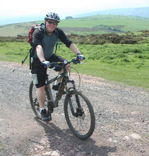 Garry cycling in the Brecon Beacons, Wales